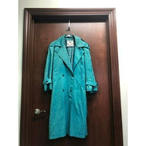 London Fog Women Metallic Green Trench Coat Sz 4P